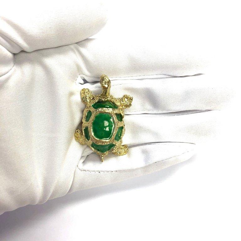 Vintage enamel and gold turtle pin pendant highkarat vintage enamel and gold turtle pin pendant mozeypictures Images