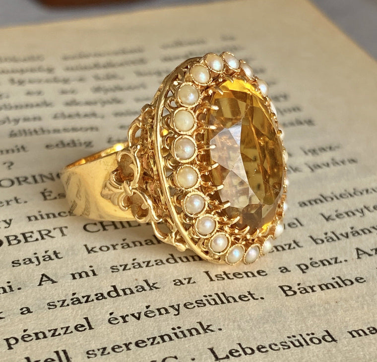 Vintage French 18K Gold Citrine Seed Pearl Ring
