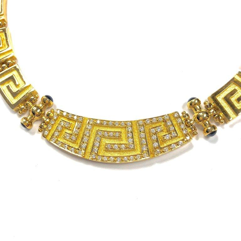 Large Greek Key Design 1.6 Carats of Diamonds Graduating Collar Necklace
