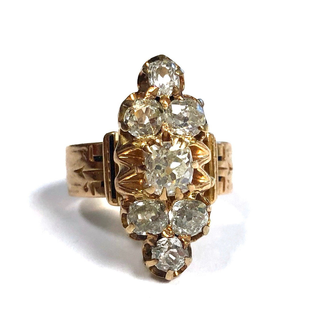 Victorian 1.50 Carats of Diamonds Rose Gold Ring