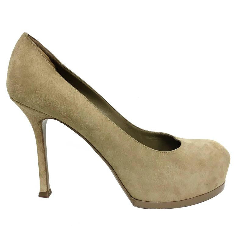 YSL Yves Saint Laurent Tribtoo 80 Nude Suede Pump Shoes in Box Size 37