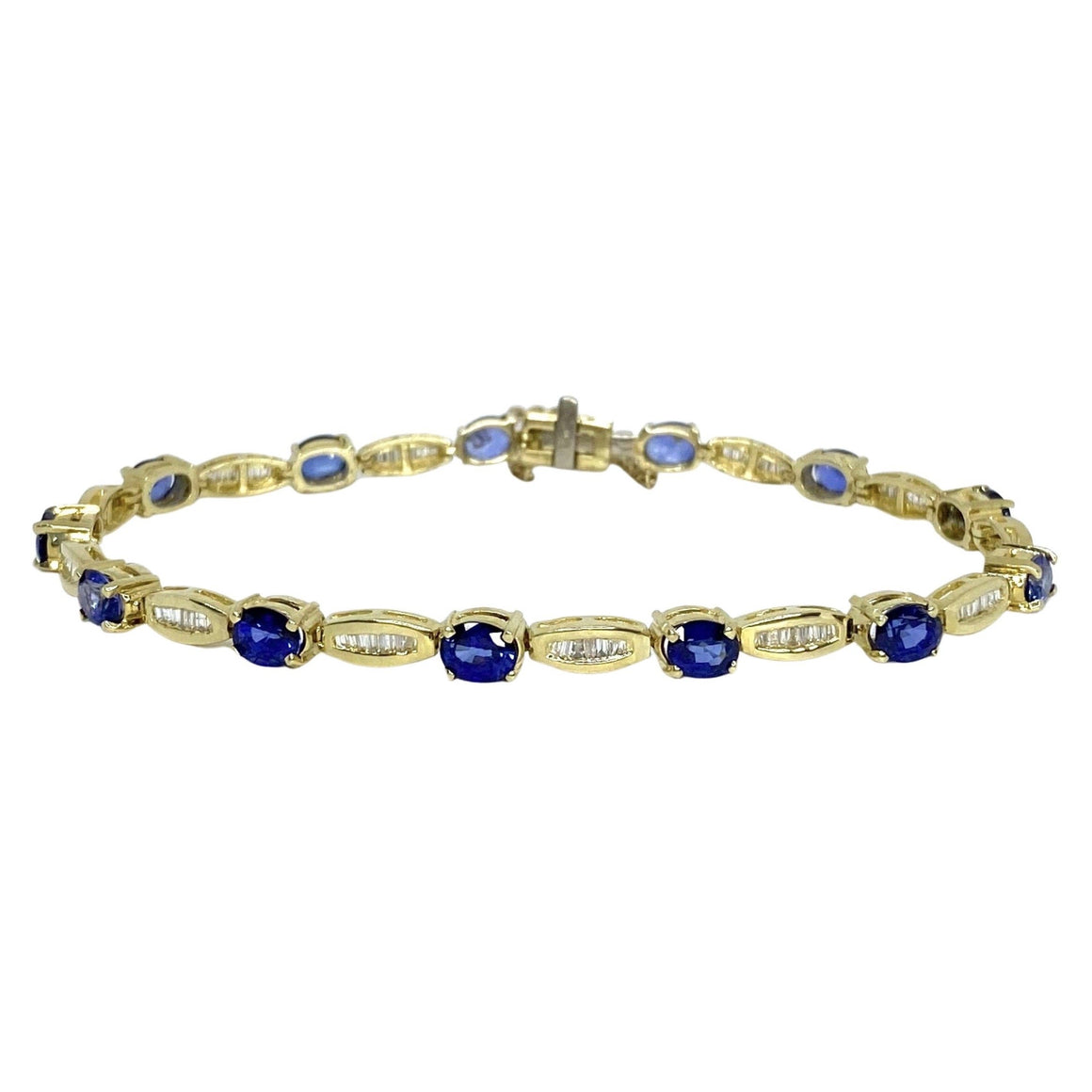 Vintage 14K Yellow Gold Sapphire and Diamond Bracelet