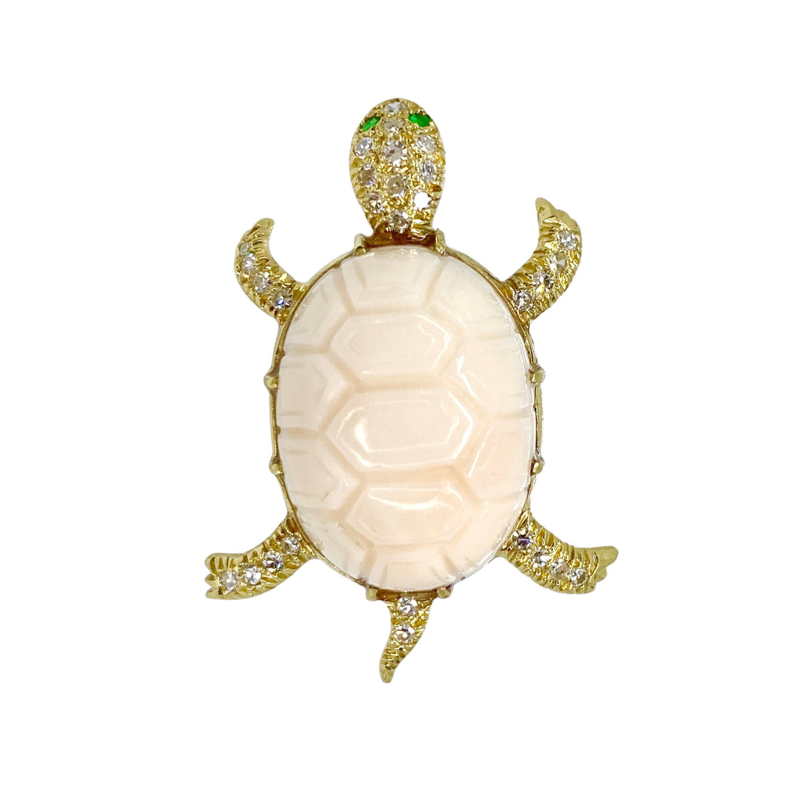 Coral Diamond Emerald 18K Turtle Brooch