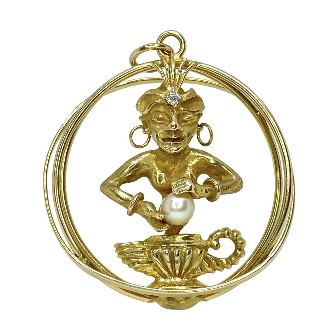 Large 14K Yellow Gold Genie Charm Pendant