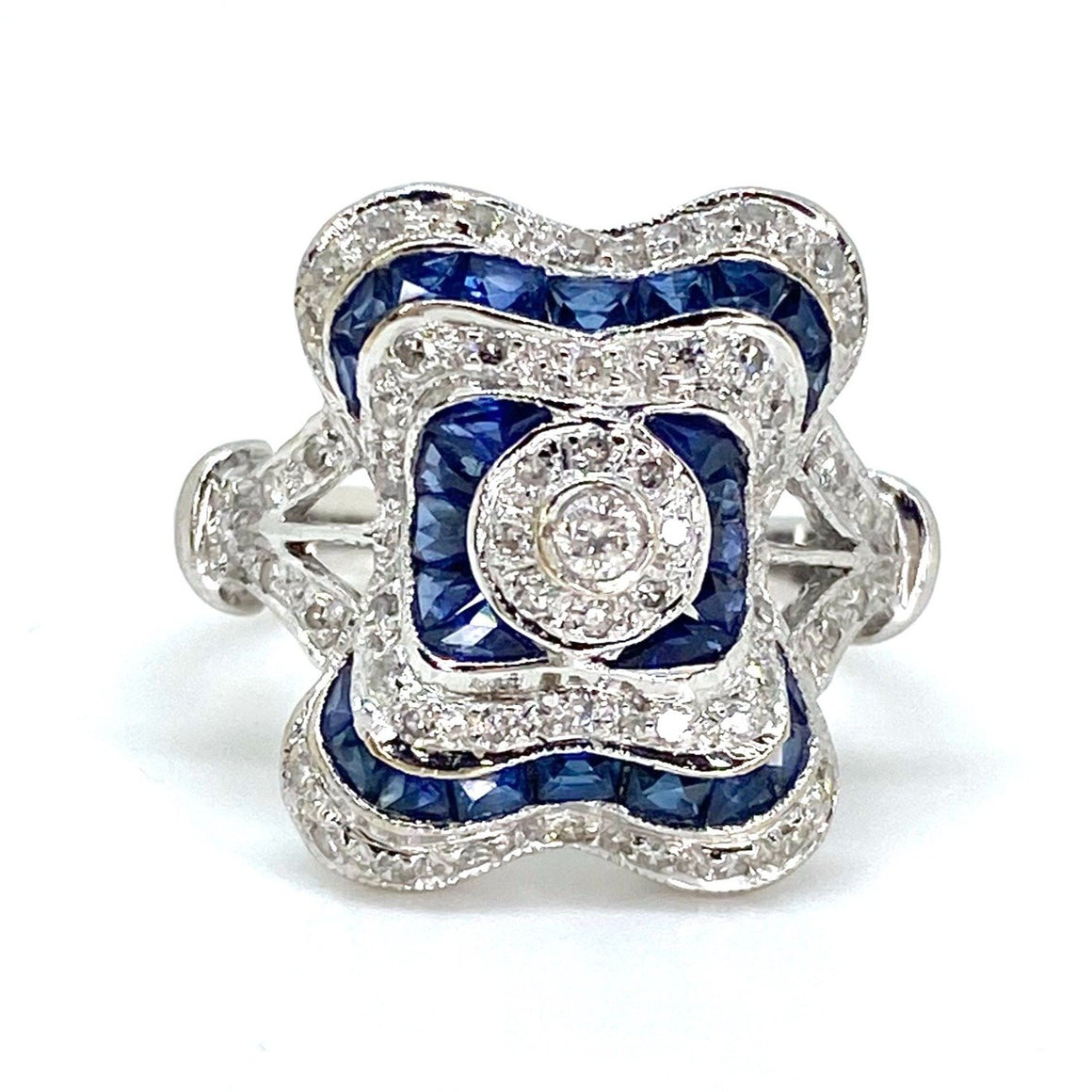 Vintage Sapphire and Diamond 14K White Gold Ring