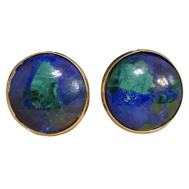 Vintage Azurmalachite 14K Gold Earrings