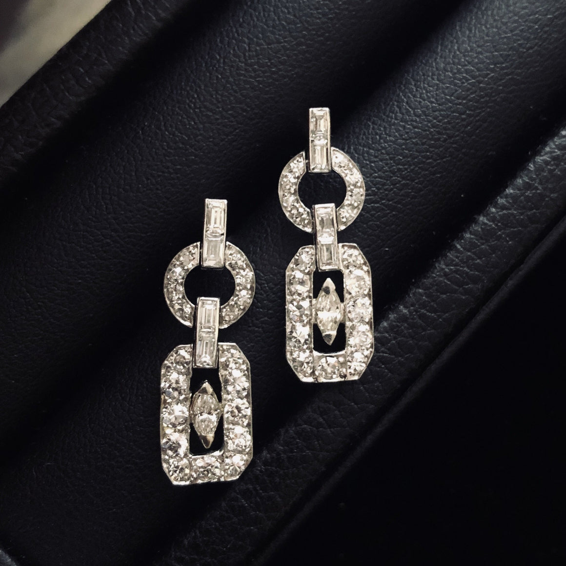 Platinum Diamond Art Deco Earrings