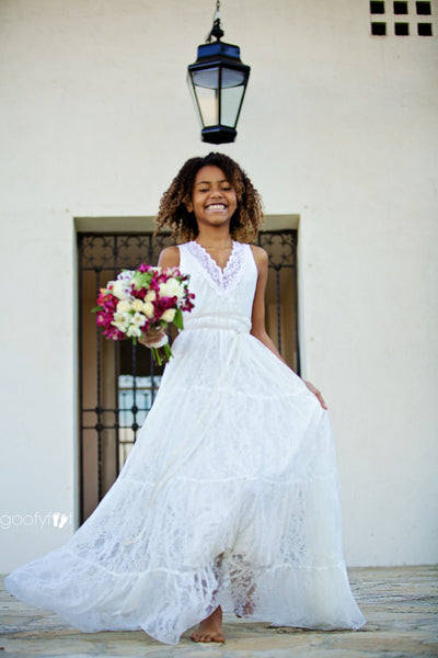 Anya Lace Full Length Flower Girl Dress