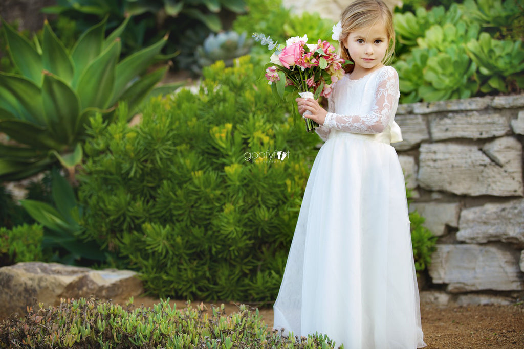 f8edb5bfb9 ... Mary Grace Wrapped Tulle Skirt Two Piece Lace Leotard Flower Girl Dress