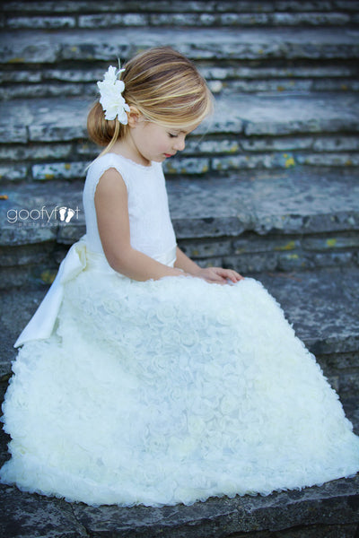 Mila 3D Rosette wrapped Skirt Two Piece Lace Leotard Flower Girl Dress