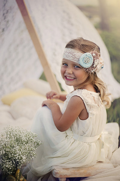 Olivia Vintage Lace Flower Girl Dress