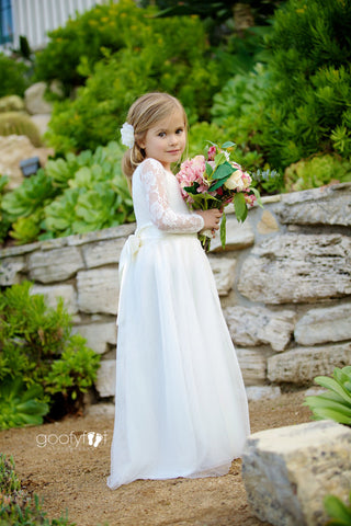 Mary Grace Wrapped Tulle Skirt Two Piece Lace Leotard Flower Girl Dress