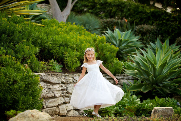 Sienna Crocheted Lace Flower Girl Dress