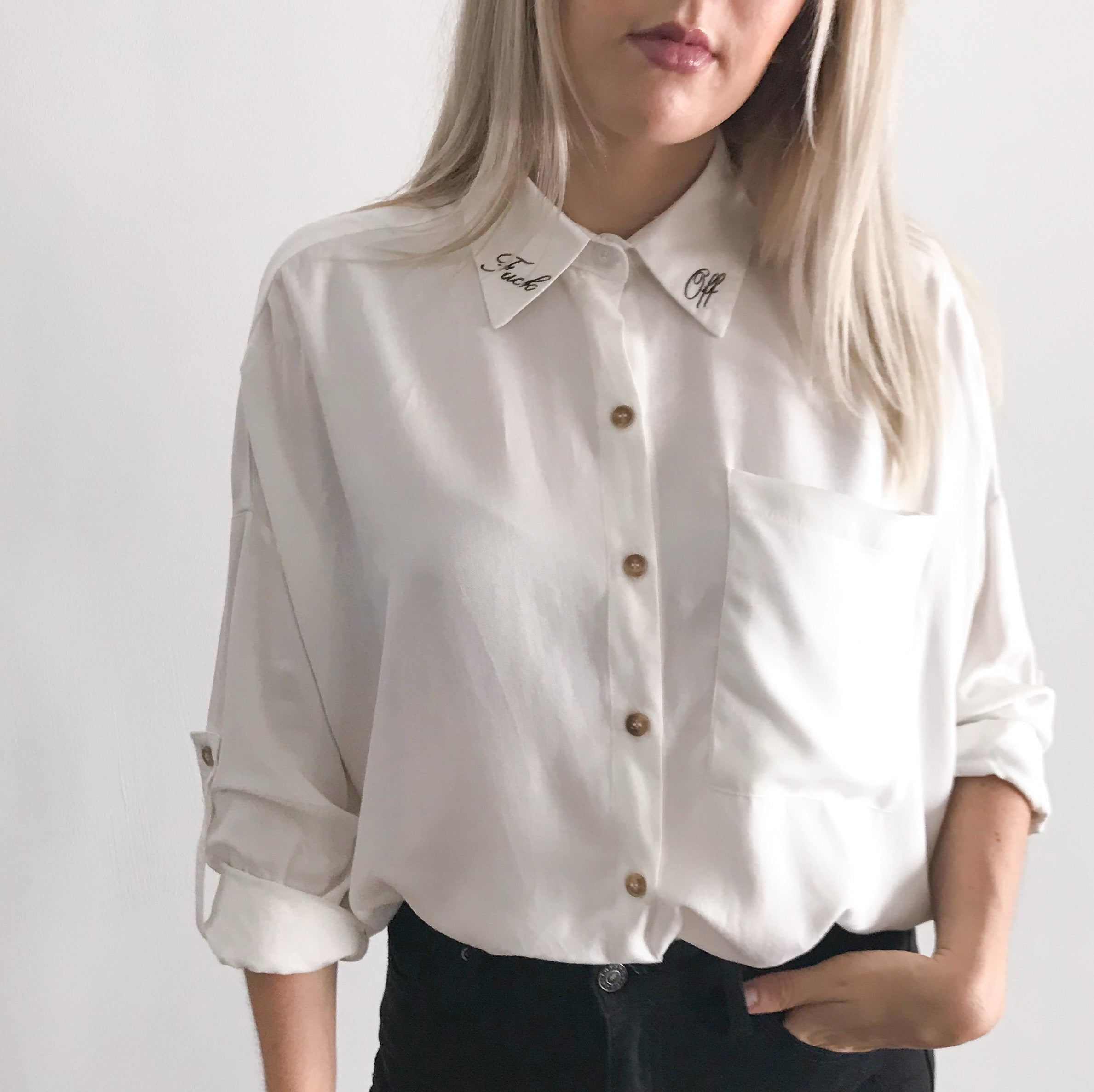 F*ck Off Embroidered Collar Shirt