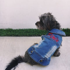 Custom Embroidered Dog Denim Jacket