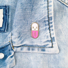 Mr. Happy Pill Pin - Pink