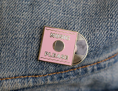 Pink Music Please Lapel Pin