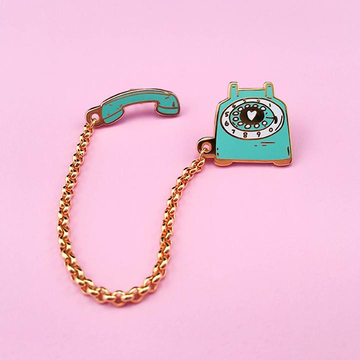Rotary Dial Telephone Enamel Pin - Mint