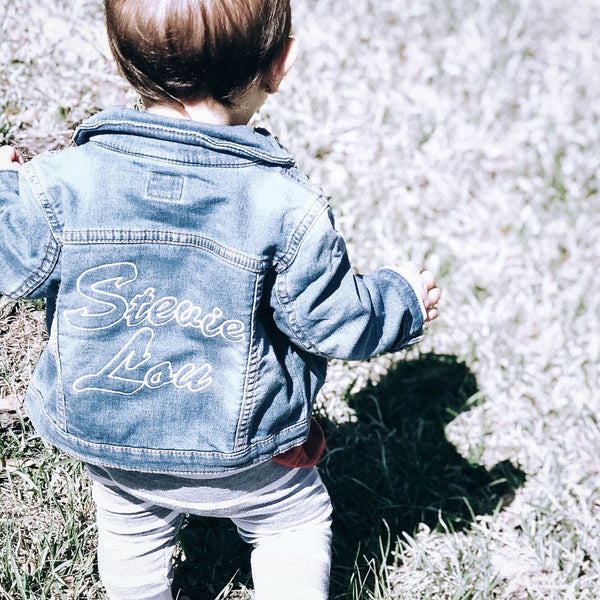 Custom Kids Name Embroidered Denim Jacket