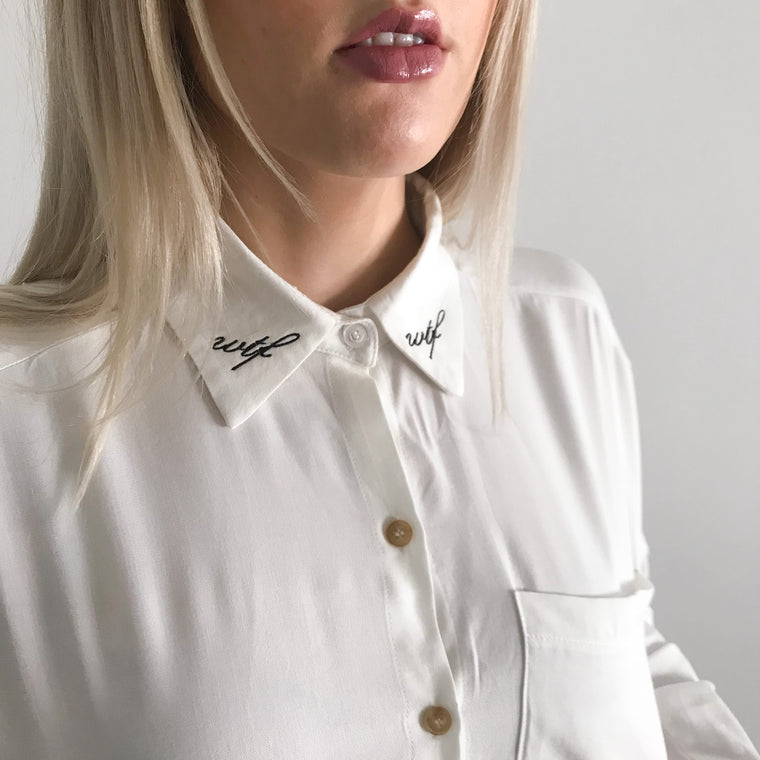 WTF Embroidered Collar Shirt