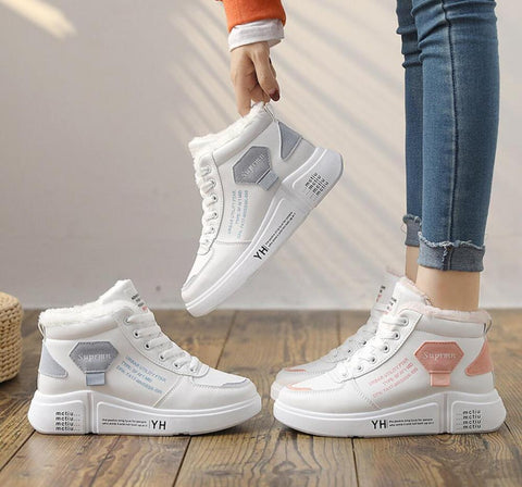 2020 Women Warming Boots Lace Outdoor Winter Plush Casual Shoes wear Female Snow Boots Footwear zapotos mujer Warm sneakers