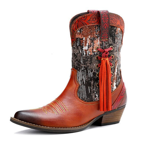 Classic Embroidered Western Cowboy Ankle Boots For Women Genuine Leather Cowgirl Boots Chunky Heels Shoes Woman Boots Handmade