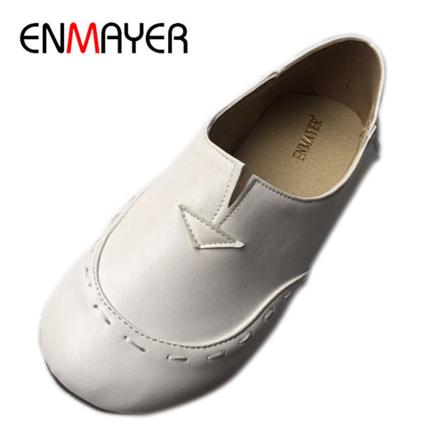 ENMAYER Ballet Shoes Woman Most Popular Portable Casual Shoes  Charming Flat Shoes For Women Flats Plus size 34-43 White Shoes
