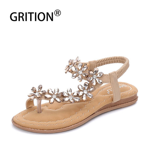 GRITION Boho Sandals Women Crystal Flowers Flat Sandals Luxury Designer Black Casual Round Toe Back Strap Flip Flop Big Size 42
