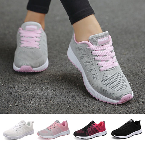 FLARUT Sport Shoes For Women Tennis Shoes 2019 Lace-Up Fashion Breathable Mesh Flat Sneakers Casual Shoe Calzado Deportivo Mujer