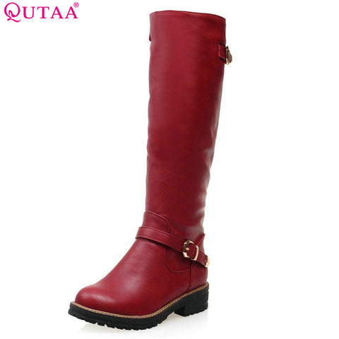 QUTAA 2017 Fashion Women Boot Med Calf  New Fashion Round Toe Woman Winter Shoes