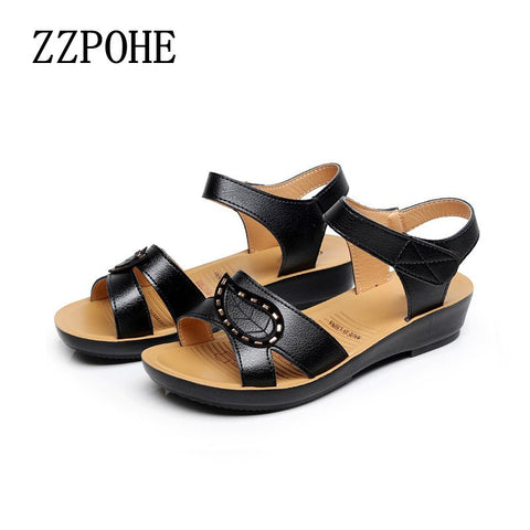 ZZPOHE New Fashion Ladies Sandals middle-aged non-slip flat comfortable old shoes large size Soft bottom women shoes