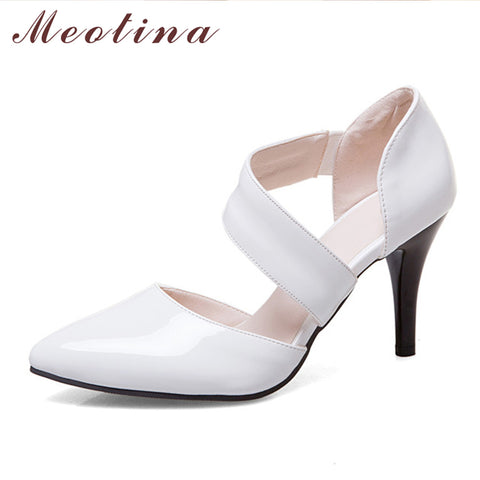 Meotina Women Shoes Pumps High Heels Pointed Toe Thin High Heels Sexy Party Wedding  Shoes White ...