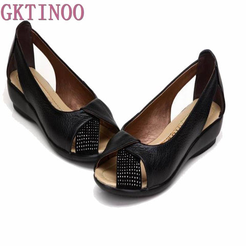 Plus size New 2018 summer shoes women genuine leather casual wedges shoes sandals women's pumps women sandals for women
