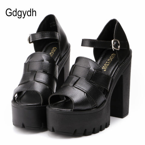 Gdgydh Fashion 2018 new summer wedges platform sandals women Black and White open toe high heels female shoes