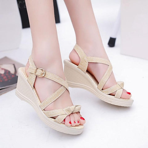 Women Summer  Shoes Sandals Casual Peep Toe Platform Wedges Sandals Shoes