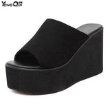 New Female Wedges Sandals Wild Suede High Heels Wedges Thick Bottom Non-slip Slippers Flip Flops  Women Shoes