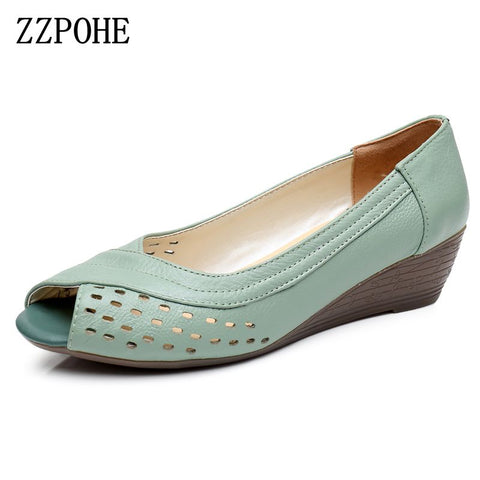 ZZPOHE 2017 Summer New women shoes Genuine leather casual women's wedges Open Toe Mother Plus Size Sandals