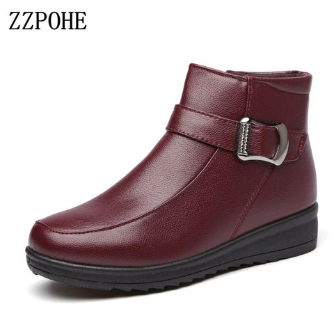 ZZPOHE Women Flat Boots 2017 Winter Fashion PU Leather Mother Boots Women's Casual Ankle Wedges Snow Boots