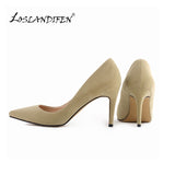 LOSLANDIFENClassic Sexy Pointed Toe mid High Heels Women Pumps Shoes Faux Suede Wedding Pumps Big Size