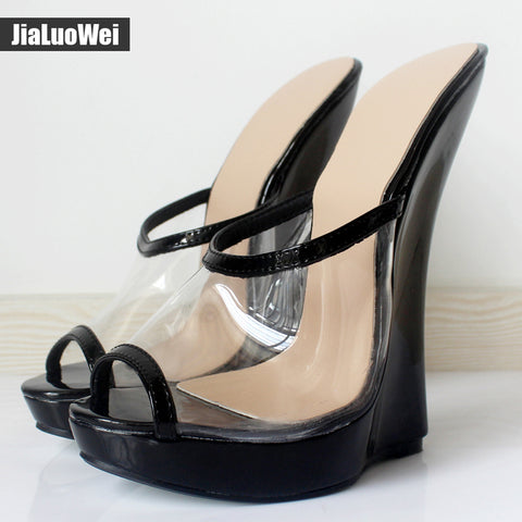 jialuowei Brand Women Sandals Fashion Sexy Transparent Sandals 18cm High Heels Wedges Pumps Peep Toe Slip-On Shoes