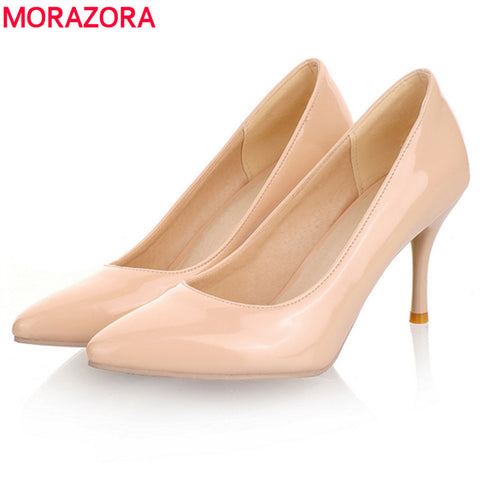 MORAZORA Big Size 2018 New Fashion high heels women pumps thin heel classic white red nude beige sexy prom wedding shoes