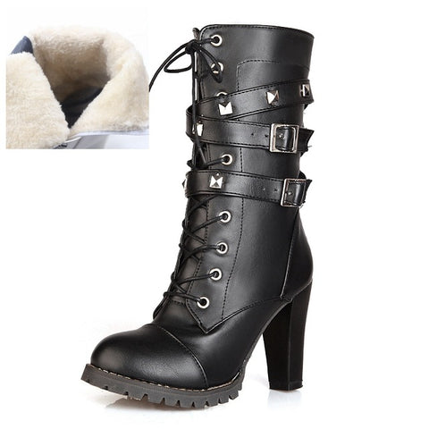 REAVE CAT Ladies shoes Women boots High heels Platform Buckle Zipper Rivets Sapatos femininos Lace up Leather boots