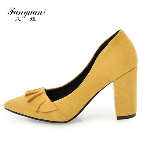 Fanyuan Flock Pump Women Shoes Sexy Pointed Toe Super Thick  High Heels Female Slip On Shallow Ruffles Pumps Office Party Shoes