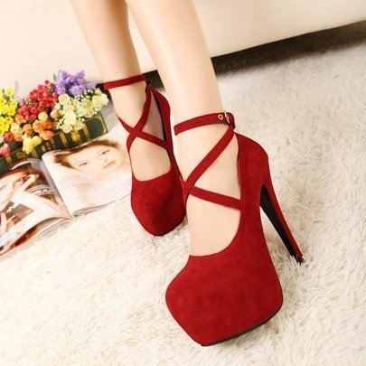Womens High Heels Platform Stilettos Black Womens Pumps Ankle Strap Sexy Ladies Party Shoes plus size