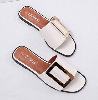Brand design woman flipflops buckle slippers woman belt buckle flip flops summer slippers gladiator sandals 40 41 42 43 big size