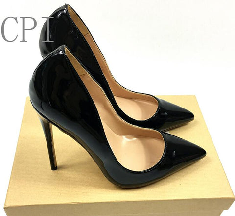 6621503ce67 Women Brand Sexy Pointed Toe Patent Leather high Heels Pumps Shoes Women  Heels Party Wedding Shoes