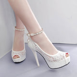 RUIDENG women super high heel wedding pumps 12cm peep toe sweet sexy party shoes lady lace platform 4cm thin heels