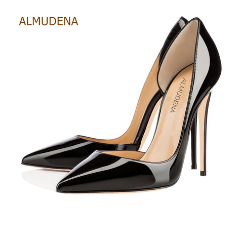 ALMUDENA Top Brand 2018 Spring Summer Black Nude Mirror Leather Pumps Sexy Stiletto Heels Irregular Shallow Cut Shoes