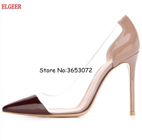 pointed toe sexy lady dress pumps shoes slip-on pvc nude leather high heels woman fashion top quality shoes