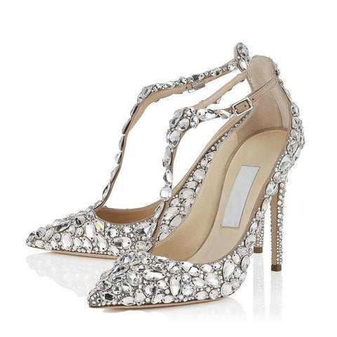 ALMUDENA Women Top Brand Sparkling Wedding Shoes String Beaded Fabulous Banquet Shoes Stiletto Heel Crystal Pumps Pearl Footwear